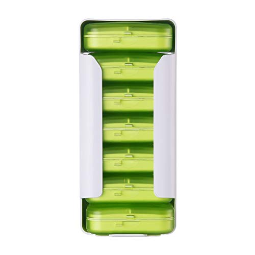 KCQI Home Travel Plastic Pill Box Six Grid Pill Box Finishing Drawer Four Grid Kit Jewelry Storage Box (Color : Green, Size : 6grid)