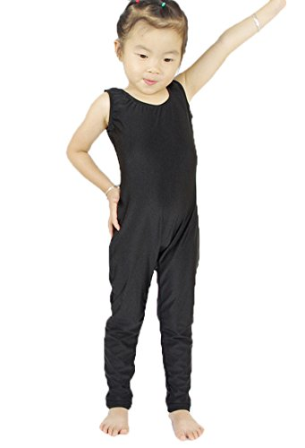 Speerise Kids Scoop Neck Tank Top Spandex Gymnastics Unitard, Black, 6X-7