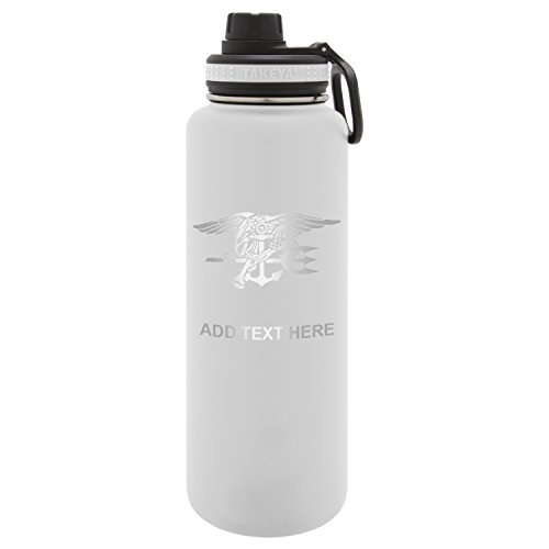 Army Force Gear Personalized Custom Us Navy Seal Pin Laser Engraving Thermoflask Leak Proof Insulated Stainless Steel Workout Sports Water Bottle Tumbler, 24 Oz, White