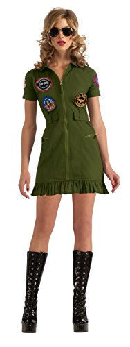Top Gun Costume Womens Flight Dress (Secret Wishes US Navy Top Gun Flight Dress, Green Khaki, Medium)