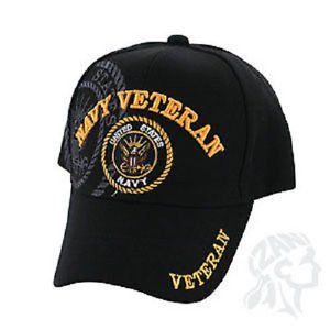 Black US Navy Veteran Shadow Embroidered Ball Cap Baseball Cap Hat U.S. Navy b34d0902aeb