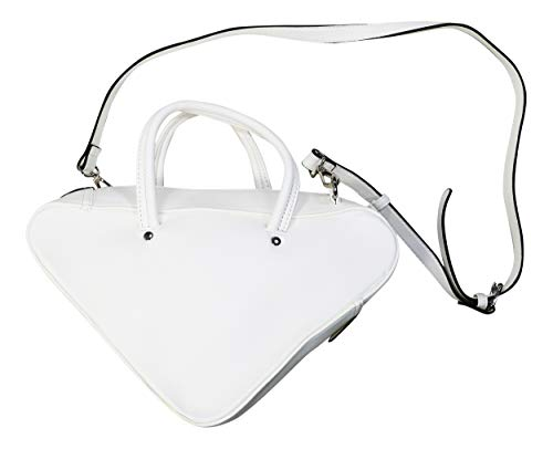 - Steve Madden Faux Leather Macey Triangle Shoulder Bag Purse (White)