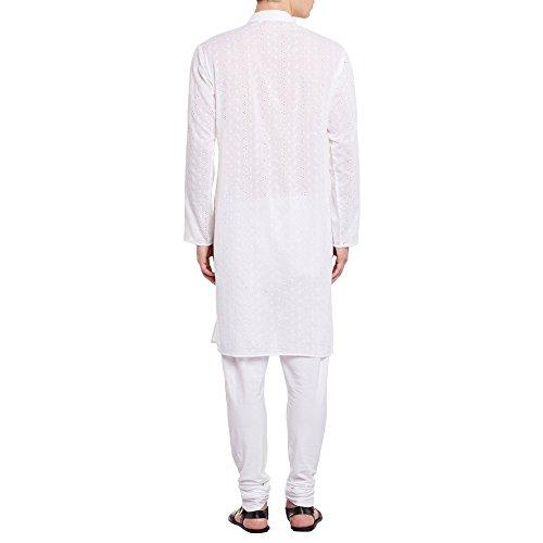 Herren bestickt Cutwork Baumwolle Kurta mit Churidar Pyjama Hose Maschinenstickerei, Off White