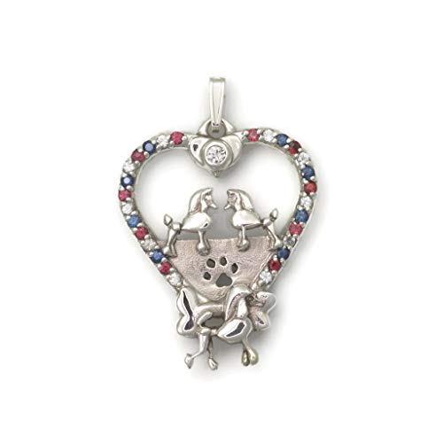 - Sapphire Poodle Necklace, Silver Poodle Necklace, Sapphire Poodle Pendant fr Donna Pizarro's Animal Whimsey Collection