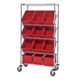 Quantum Storage Systems Slanted Wire Shelf Truck With Dividable Boxes 18 X 3