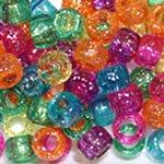 Bright Glitter Multicolor Mix Plastic Pony Beads Bulk 6x9mm, 1000 beads Black Plastic Bead
