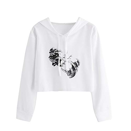 Price comparison product image MIARHB Teen Girls Hoodies Women's Solid Color Sweatshirts Casual Long Sleeve Crop Tops Sweater (S,  White)
