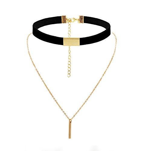 Woman Girl Choker Collar Pendant Adjustable Elegant Chain Choker Necklace Layered Gothic Leather Choker with Charm Rectangle Pendant (Black Ribbon Gold Pendant) (Multi Strand Dangle)