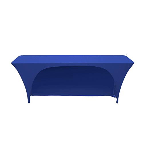 Your Chair Covers - Stretch Spandex 6 Ft x 18 Inches Open Back Rectangular Table Cover Royal Blue, 72 Length x 18 Width x 30 Height Fitted Tablecloth for Standard Classroom Folding Tables