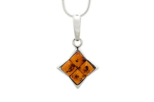 925 Sterling Silver Square Pendant Necklace with Genuine Natural Baltic Amber. Chain included