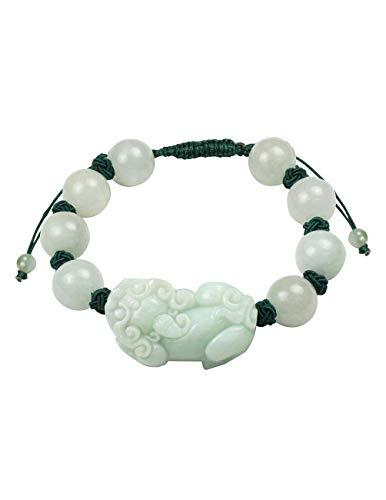 Dahlia Jadeite Certified Grade A Jade Intricate Pi Xiu Dragon Fortune Prosperity Bracelet
