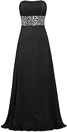 ANTS Womens Strapless Crystal Chiffon Evening Dresses Long Prom Gowns Size 2 US Black