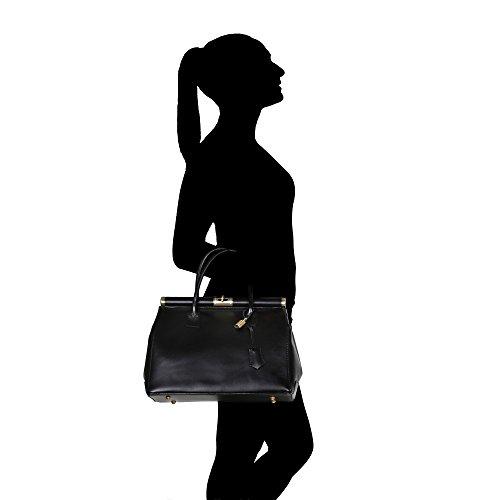 Main Italie Femme Cuir Noir En Véritable Cm Borse Fabriqué 35x28x16 Bracelet Chicca Roulettes Avec À Sac T7R4qt