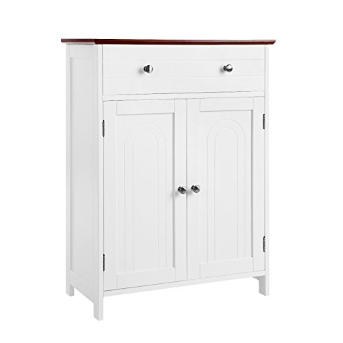 SONGMICS Free Standing Bathroom Cabinet with Large Drawer and Adjustable Shelf, Kitchen Cupboard, Country Style, Wooden Entryway Storage Cabinet, 23.6