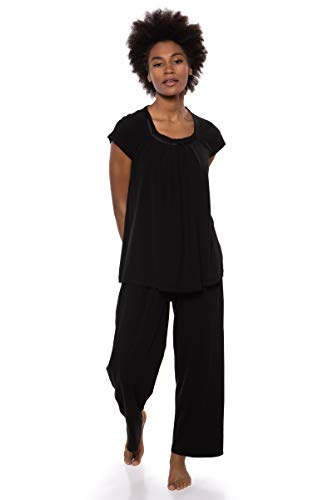 Texere Women's Pajamas in Bamboo Viscose (Bamboo Bliss, Black, M)