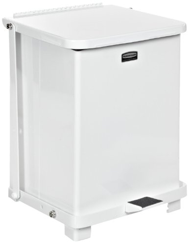 Rubbermaid Commercial Defenders Step-On Trash Can with Plastic Liner, 40-Gallon, White ()