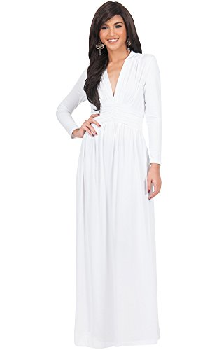 KOH KOH Petite Womens Long Sleeve Sleeves Vintage V-Neck Autumn Fall Winter Formal Evening Casual Flowy Maternity Abaya Muslim Islamic Cute Gown Gowns Maxi Dresses, Ivory White S 4-6