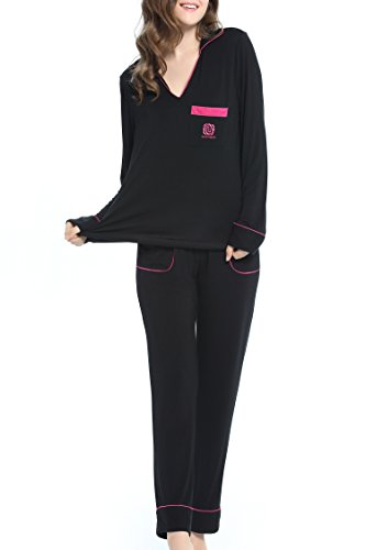 NORA TWIPS Soft Pajamas For Women Long Sleeve Sleepwear Set With Pocket PJS by (Black,L) Black Embroidered Pajamas