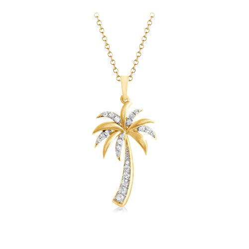 1/6 Ct Natural Diamond Palm Tree Pendant 16