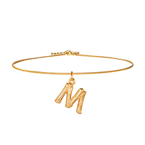 Bamboo Initial Choker Collar Necklace,18k Gold Plated DIY Women Girls Party Fashion Jewelry,14+2 Inches Resizable Chain for Layering, 26 Charm Small Tiny Capital Alphabet Letter Pendant Necklace(M)