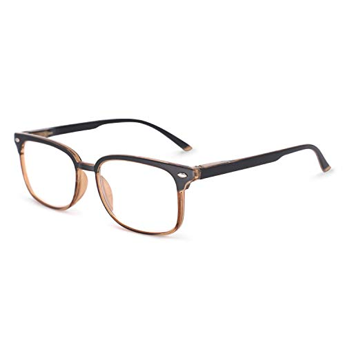 - OCCI CHIARI Reading Glasses Readers Women Men Prescription Eyeglasses Computer Eyewear Rectangular(100 125 150 175 200 225 250 275 300 350) Black+Brown 2.25