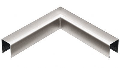 Railing Cap Glass (Polished Stainless U-Channel 90 Degree Horizontal Corner for 1/2