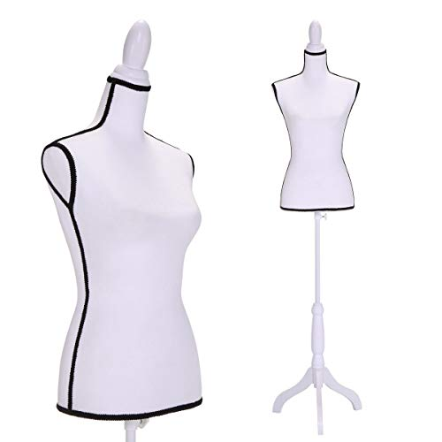 Female Dress Form Pinnable Mannequin Torso, with Tripod Stand, Adjustable Height, for Dress Clothing Display, White (Form Torso Dress)