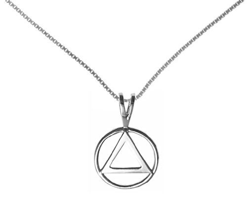 Alcoholics Anonymous Jewelry, #1201 Set of AA Pendant #01 with Medium Box Chain #212 $36 (18 Inches)