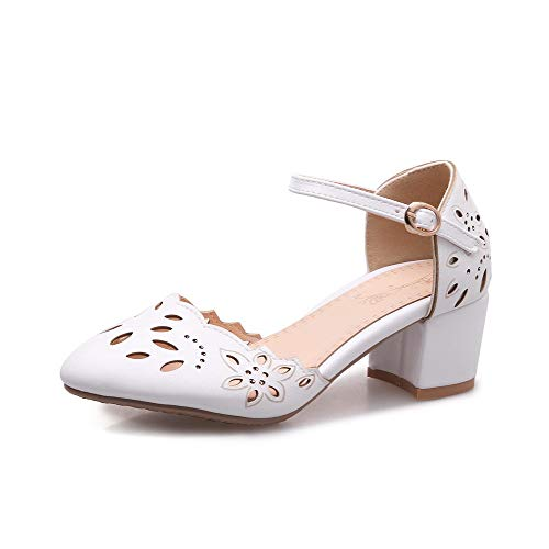 VogueZone009 Women Buckle PU Closed-Toe Kitten-Heels Solid Sandals White