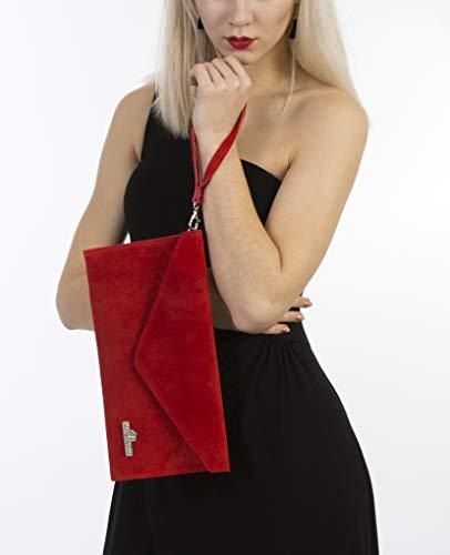Rouge Liatalia De Pochette Taupe En Style soldé Italien Soirée 'leah' Enveloppe Suède Gris z clutch 4pF41waxq