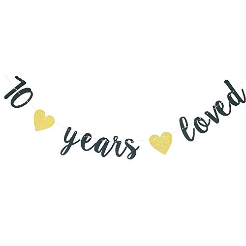 70 Years Loved Gold Glitter Banner, 70th Birthday Party Decorations, 70th Anniversary, Seventy Years Banner Sign, Photo Prop, Cheers to 70 Years, Happy 70th Decor]()