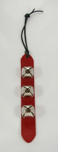 (New 3 Silver Bell Red Leather Jingle Sleigh Bell Door Decoration)