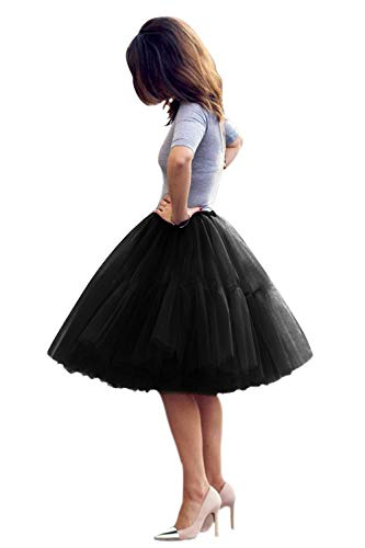 Women 5 Layer Tulle Ballet Bridal Petticoat Princess Skirt(Black,One Size)