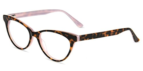 Firmoo Blue Light Blocking Computer Glasses for Anti Eyestrain/Headache/Glare/UV with Vintage Cateye Pink and Tortoise Plastic Frame for Women