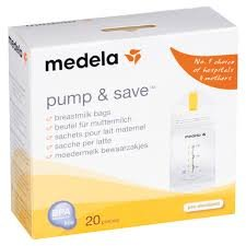 Medela Pump & Save Breast Milk Storage Bags, 20 Count Pack, Breastmilk Freezer Bags, Pour or Pump Directly into Bags with Included Easy Connect Adaptors, Made Without BPA