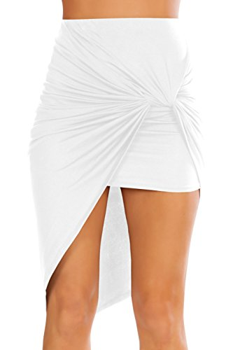 Simlu Womens Drape Up Stretchy Asymmetrical High Low Short Mini Bodycon Pencil Skirt White Large -