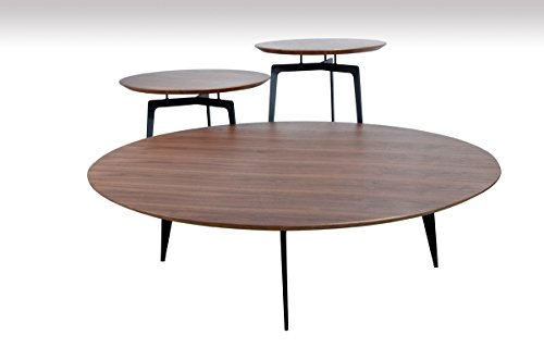 Ordinaire Modrest Jetson Modern Walnut Coffee Table Set Other/Round