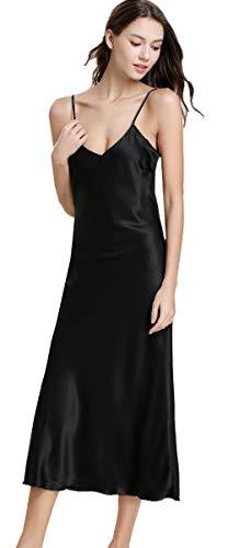 Airvid Womens Silky Nightdress Deep V-Neck Satin Full Slip Lingerie Sleepwear Black US M/Tag L ()