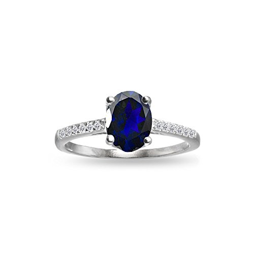 (Sterling Silver Created Blue Sapphire and White Topaz Oval Crown Ring, Size 7)
