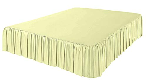 Platinum Free Mattress Protector (Splendid Collection 3 Side Coverage Gathered/Ruffle 13 inch Extra Long Bed Skirt (Short Queen, Solid Ivory) 1800 Series Brushed Microfiber - Covers Bed Legs and Frame)