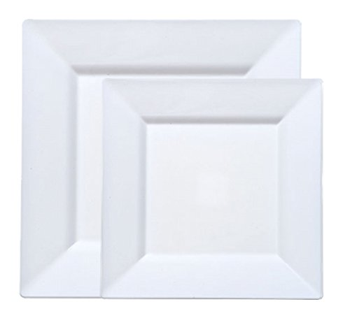40 White Square Plastic Plates - Includes 20 Dinner Plates and 20 Salad Plates