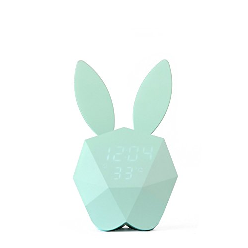Rabbit Clock (Bunny Rabbit Alarm Clock LED Night-Light Voice Control Sound Sensitive Time Temperature Digital Display Strong magnetic Adsorption Li-ion Battery Rechargeable Baby Gift (Macaron Blue))