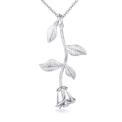 ALPHM S925 Sterling Silver Rose Flower Leaf Charm Pendant Necklace for Women Girl