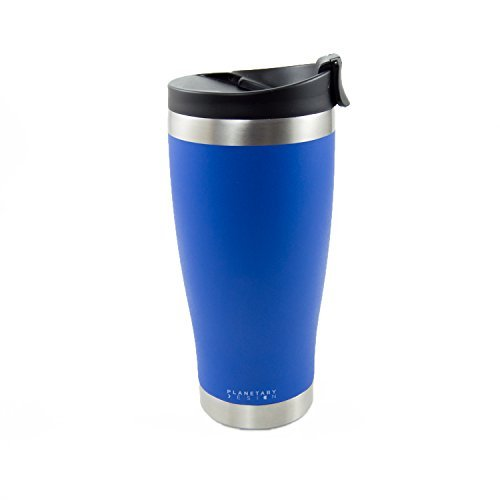 Adventure Tumbler - 16 fl.oz. Stainless Steel Coffee & Tea Tumbler with Leak Proof Lid - Stays Hot For Hours - Not-slip Texture Mountain Lake by BrüTrek by Planetary Design
