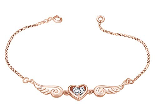 14k Rose Gold Over Sterling Silver White Cubic Zirconia Angel Wings with Heart Chain Bracelet