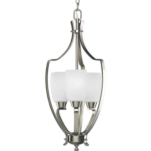Progress Lighting P3509-09 3-Light Foyer with Etched Glass and Arching Rectangular Arms (9 Light Foyer Light)
