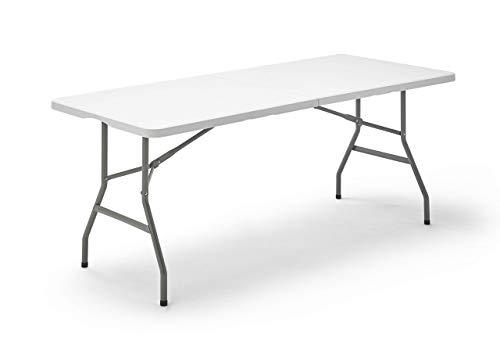 Mesa Plegable Rectangular, 180 x 74 x 74 cm, color blanco (Tenco TG180)
