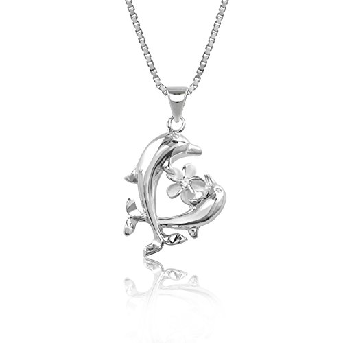 - Sterling Silver Dolphins and Plumeria Flower Necklace Pendant with 18