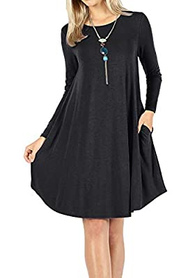 peassa Women's Long Sleeve Plain Pockets Casual Loose Swing T-Shirt Short Dress