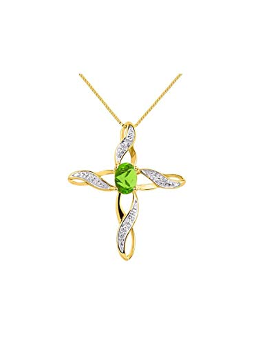Diamond & Peridot Cross Pendant Necklace Set In Yellow Gold Plated Silver .925 with 18